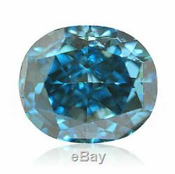 0.13 Carat Fancy Vivid Green Blue Diamond GIA Certified Natural Color Oval