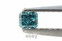 0.13 Carat Fancy Vivid Green Blue Diamond GIA Certified Natural Color Radiant