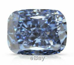 0.21 Carat Fancy Vivid Blue Diamond VS2 GIA Certified Natural Color Cushion