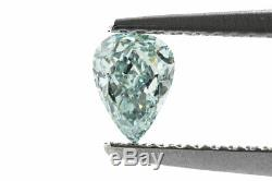 0.41 Carat Fancy Intense Blue Green Certified Diamond Natural Color Loose Pear
