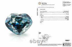 0.52 Carat Fancy Deep Green Blue Diamond GIA Certified Natural Color Heart