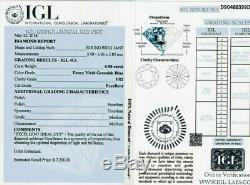 0.90 CT Loose Natural Diamond Fancy Vivid Green Blue VS2 Round Cut Certified