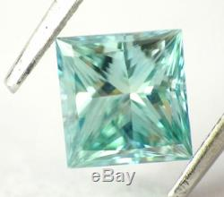 1.00 CT Loose Natural Diamond Fancy Intense Blue Green VS Princess Cut Certified