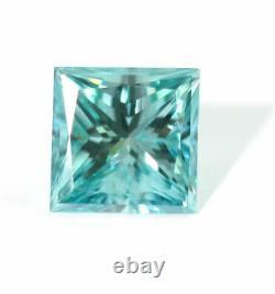 1.00 CT Loose Natural Diamond Fancy vivid Blue VS1 Princess Cut Certified Square