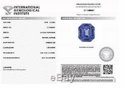 1.03 ct Emerald Cut Blue Sapphire IGI Certified Unheated