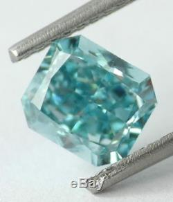 1.17 CT Loose Natural Diamond Fancy vivid Blue Green Radiant Cut Certified NICE