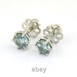1.20 Ct Certified Blue Diamond Solitaire Studs. Great Luster & Bling