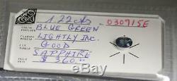 1.22 carat Natural Blue Green Sapphire Oval Loose CERTIFIED SEALED GEMSTONE