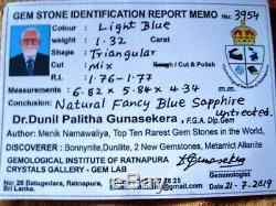 1.32ct Certified Natural Blue Sapphire Triangular Shape Loose Gemstone Sri Lanka