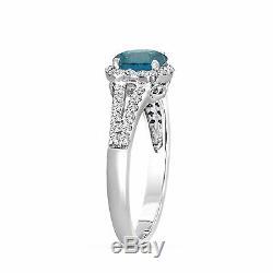 1.36 Carat Platinum Enhanced Fancy Blue Diamond Engagement Ring Certified Halo