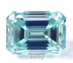 1.44 CT Loose Natural Diamond Fancy Intense Blue Green VS1 Emerald Cut Certified