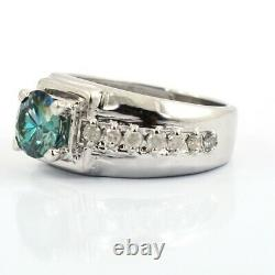 1.50 Ct Certified Stunning Blue Diamond Ring With White Accents! Great Gift