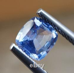 1.55 Ct Unheated Natural Pastel Blue Sapphire Cushion Certified VVS