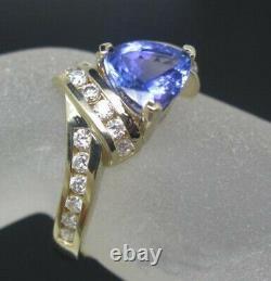 1.60 Carat Natural Blue Tanzanite EGL Certified Diamond Ring In 14KT Yellow Gold