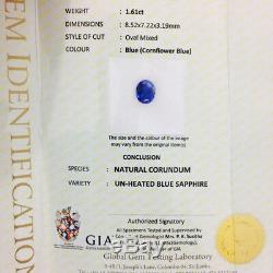 1.61 Cts VVS1 Natural Unheated Blue Sapphire Certified Top Rich Ceylon Sapphire