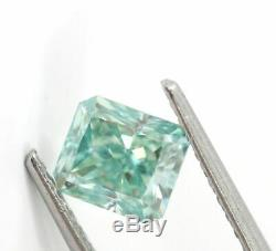 1.61 carat Fancy Blue Green VVS2 Loose Natural Diamond Radiant GIA Certified