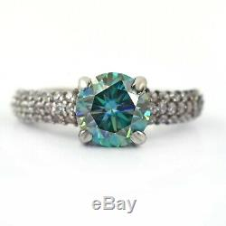 1.85Ct Certified Natural Earthmined Blue Diamond Ring With White Stone Accents