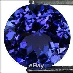 1.88 Ct IGI Certified AA Natural D Block Tanzanite Blue Violet Round Cut