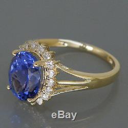 1.95 Carat 14KT Yellow Gold Natural Blue Tanzanite EGL Certified Diamond Ring