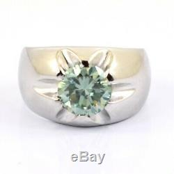 1 ct Certified, Round Blue Diamond Men's Ring In Prong Setting- Newly Launched