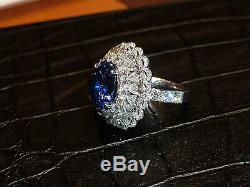 10.51ct Oval Natural Blue Sri Lanka Unheated Sapphire GIA Certified 18kt White