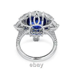 10.53 Ct Unheated Natural Vivid Blue Sapphire Ring 18K White Gold GRS Certified