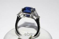 $100,000 7.67ct Agl Certified Natural Madagascar Blue Sapphire & Diamond Ring