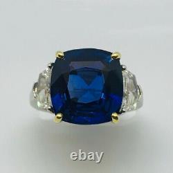 11.28 ct No Heat Blue Sapphire & Diamond Platinum & 18K Gold Ring AGTA Certified