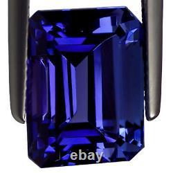 11.66 Ct GIA Certified AAAA Natural D Block Tanzanite Blue Violet Emerald Cut
