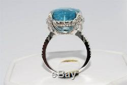 $13,000 11.57ct Agl Certified Natural Apatite & Diamond Cocktail Ring 14k Gold