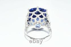 $130,000 32.23ct Agl Certified Rare Natural Maxixe Beryl & Diamond Cocktail Ring
