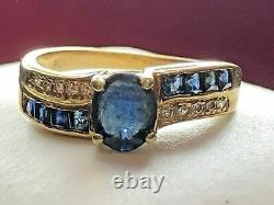 14K YELLOW GOLD BLUE SAPPHIRE DIAMOND RING WITH NATURAL GIA Certified SAPPHIRE