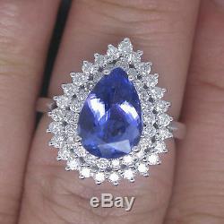 14KT White Gold 1.80 Carat Natural Blue Tanzanite EGL Certified Diamond Ring