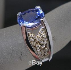 14KT White Gold 1.90 Carat Natural Blue Tanzanite EGL Certified Diamond Ring