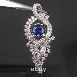 14KT White Gold 100% Natural Blue Tanzanite 1.90Ct EGL Certified Diamond Pendant