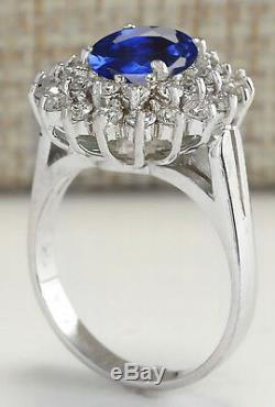 14KT White Gold 2.15 Carat Natural Blue Tanzanite EGL Certified Diamond Ring