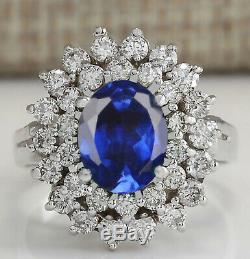 14KT White Gold 2.30 Carat Natural Blue Tanzanite & EGL Certified Diamond Ring