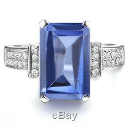 14KT White Gold Natural Blue Tanzanite 2.00 Carat EGL Certified Diamond Ring