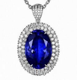 14KT White Gold Natural Blue Tanzanite 2.10CT EGL Certified Diamond Pendant