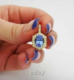14KT Yellow Gold 1.65CT Natural Blue Tanzanite EGL Certified Diamond Pendant