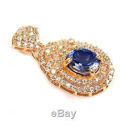 14KT Yellow Gold 2.15 Carat Natural Blue Tanzanite EGL Certified Diamond Pendant