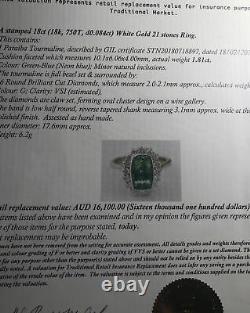 $16,100 Rare Certified Paraiba Tourmaline G/VS Diamonds 18k White Gold Ring
