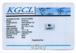 18.20 Carat Natural Aqua Blue Oval Aquamarine Checker Cut Certified Gem For Ring