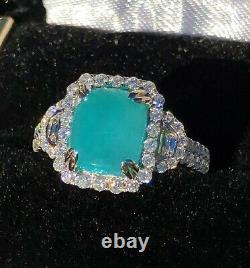 18K Gold 4.82 ct. AGL Certified GIA Brazilian Paraiba Tourmaline Diamond Ring