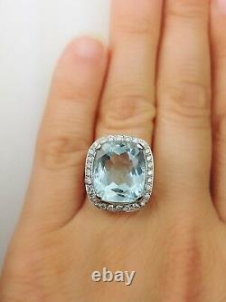 18K White Gold Aquamarine & Round Diamond Cocktail Ring 9.40 CT Certified