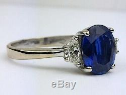 18K Yellow & White Gold Blue Sapphire & Diamond Engagement Ring Certified 2.9 ct