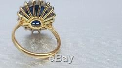 18ct Gold- Blue Sapphire (5ct) & Diamond (0.5ct) cluster-Immaculate Certified