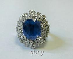 18k Gold 10.15 Ct. GIA Certified Unheated No Heat Blue Sapphire Diamond Ring