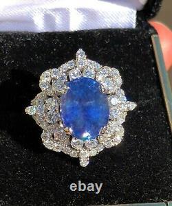 18k Gold 10.56 Ct Gia Certified Unheated No Heat Blue Sapphire Diamond Ring