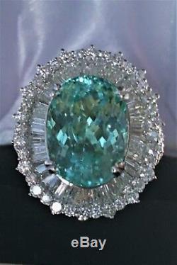 18k Gold 12.18 Ct. Certified Gia Aaa+ Neon Blue Paraiba Tourmaline Diamond Ring